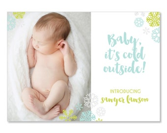 Photo Holiday Card Birth Announcement Snowflake Card | Baby's First Christmas Baby Announcement | 5x7 Holiday Newborn Announcements