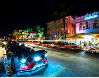 South Beach Miami Nightlife, Miami Photography, Miami Art, Miami Decor, Miami Print, Miami Beach, South Beach, Art Deco, Neon Lights
