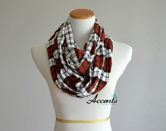 Infinity Scarf-Black White and Red Glasgow Plaid Infinity Scarf