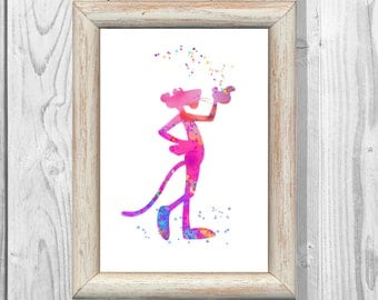 Pink Panther Poster Watercolor Print Kids  Art Print Giclee Wall Illustrations Art Print  Wall Decor  Home Decor Instant Digital Download