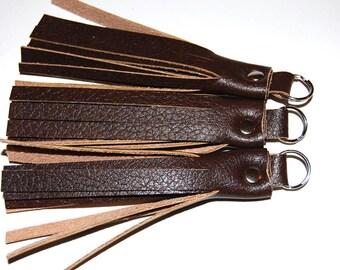 Tassel Keychain, Vegan Leather Keychain, Key Fob, Tassel Keychain, Brown Tassel, Purse Accessory, Zipper Pull, Tassel Keyring