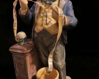 """Pucci Figurine """"The Tycoon"""" Man Reading the Wall Street Ticker Tape  //  Vintage Statue or Figurine Made in Japan #3464"""
