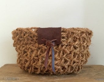 Handmade Coconut Fibre Crochet Basket with Leather Detail