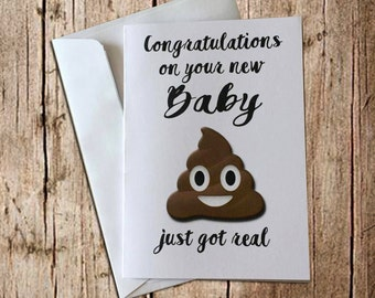 Funny new baby card: Sh*t just got real