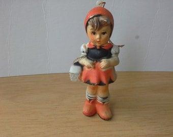 Vintage Plastic Little Girl Hold Basket Figurine in Orange Dress Hong Kong
