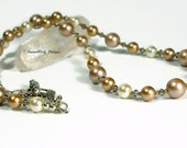 Swarovski Pearls and Crystals Necklace in Neutral Tones