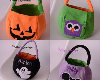 Personalized Halloween Bag Trick or Treat Bucket – 4 Designs Available