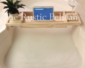 iPad -Reclaimed Wood Bathtub Caddy - Rustic Bathtub Tray - iPad Bathtub Tray- Farmhouse Tray- Farmhouse style -Wedding Gift - Wood Tub Tray