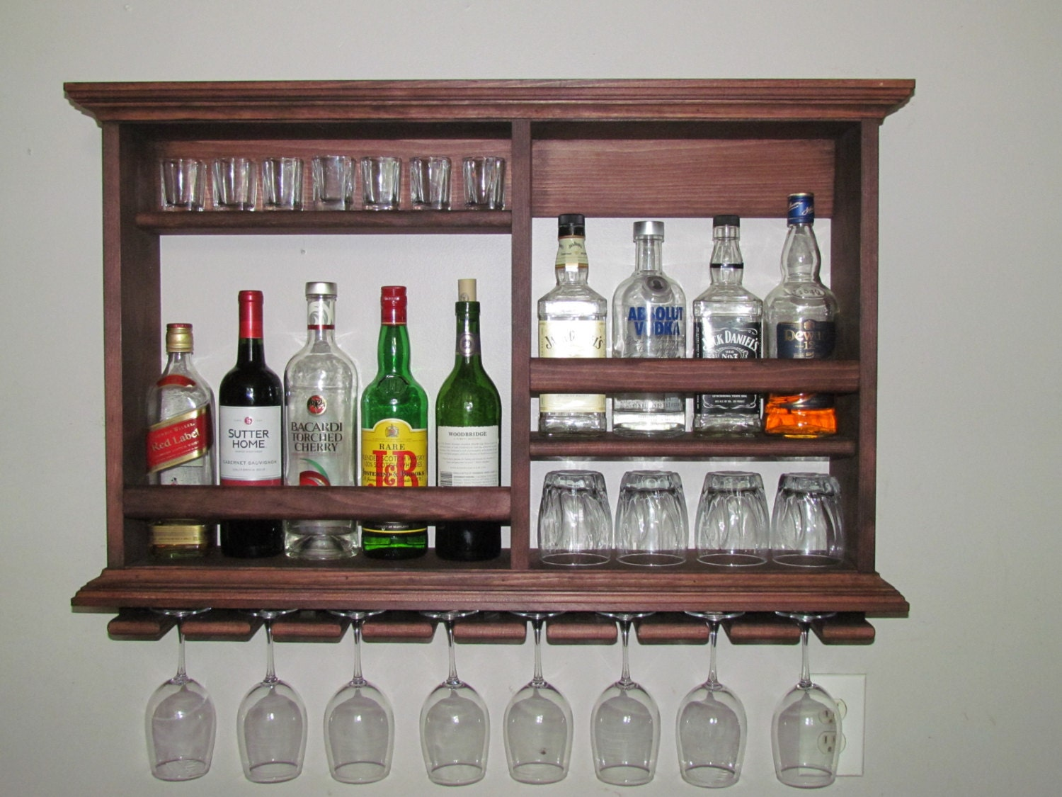 Mini bar red mahogany 3 39 x2 39 wine rack liquor for Bar licorera de madera para sala