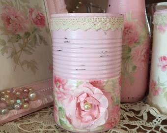 Roses Decoupage Shabby Chic Pink Tin Can Vanity Boudoir Romantic Victorian Style Home Office Dorm Nursery Decor Gift Sandra Lee Collection