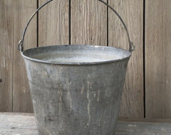 vintage feed bucket, galvanized metal pail