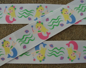 """Mermaid ribbon Mermaid Printed Ribbon 7/8"""" 3 yards summer ribbon ocean ribbon hair bow ribbon craft supplies"""