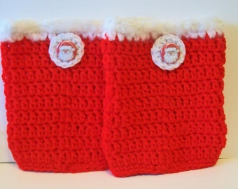 Fun Red and White Santa Christmas Hand Crocheted Boot Cuffs Cute Accessory 5 Sizes Available