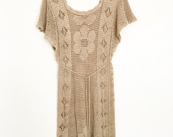 Sale Vintage 1970s cotton crochet lace bohemian dress