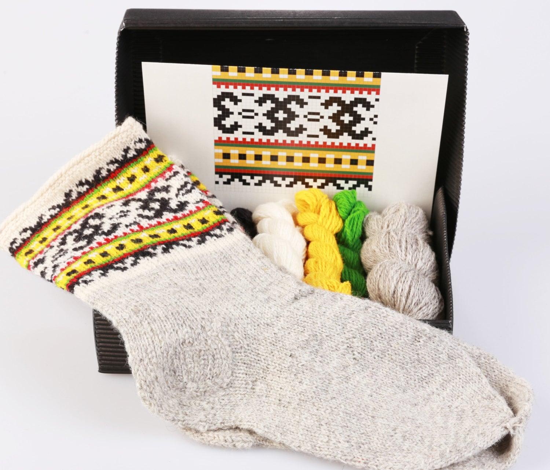 Knitting Diy Kits : Latvian socks diy pattern knitting kit quot knit like a