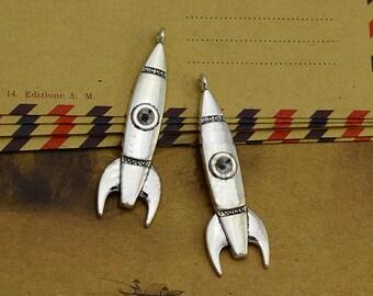 10pcs 15x50mm  Rocket Charms, Antique silver Rocket Charms Pendant, Missile Charms