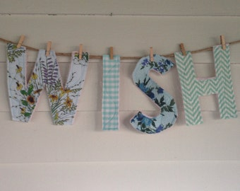 WISH: mint and pastels quilted letters for display or play, nursery decor, wedding decor, shower decor, upcycled, reclaimed, repurposed