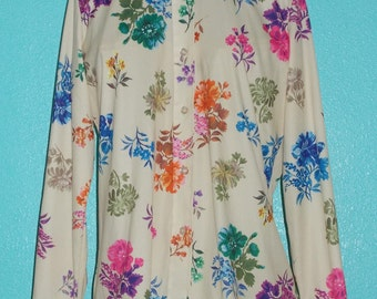 1970s Vintage Ladies Polyester Flower Bouquet Disco Hipster Shirt — Size 14-16, Large