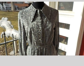 Silver Shirt Waist Dress - 1960s Black and Silver Dress