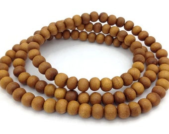 Natural Tibetan Sandalwood 108 Beads Stretch Full Mala Necklace for Meditation and Yoga