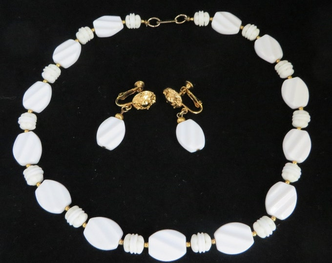 Hobe White Bead Necklace Earrings Set, Vintage Demi-Parure