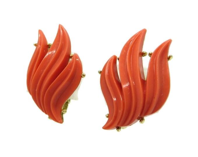 Vintage Trifari Orange Coral Leaf Clip-on Earrings