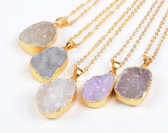Wholesale Gold Plated Natural Agate Druzy Geode Necklace Druzy Jewelry Gemstone Necklace Making Jewelry Goede Jewelry G0882-N