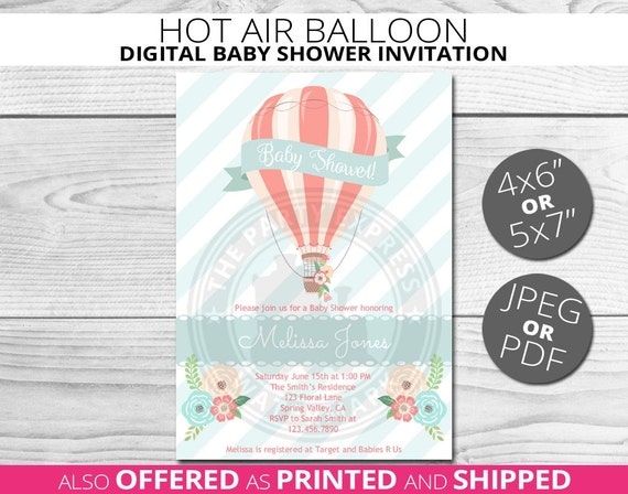 hot air balloon baby shower invitation balloon baby shower floral
