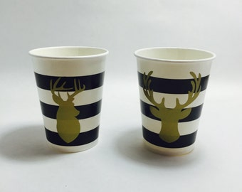10 Gold foil black and white striped cups buck reindeer deer head moose antler for Hot cocoa chocolate bar Christmas party shower