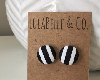Black and White Stripe Button Earring