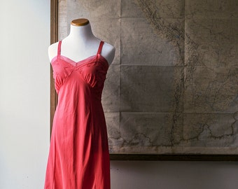 Free Domestic Shipping - Vintage 1960s / 1970s True Red Nightie - Slip - Negligee - Lingerie