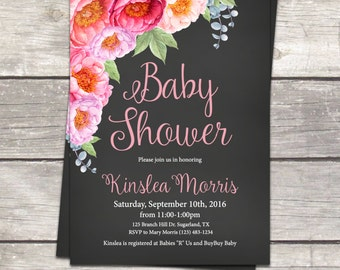 Baby shower invitation, flower roses baby shower, chalkboard floral watercolor, printable files