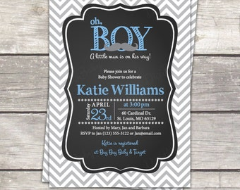 Mustache Boy Baby Shower Invite, A little Man baby shower invitation, Chalkboard Baby Shower Invite, Gray Blue, Printable Invitation, B1