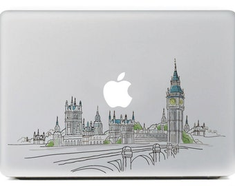 Macbook 13 inch decal sticker London and apple art for Apple Laptop