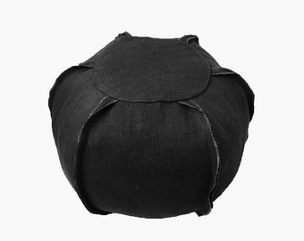 Fast Shipping/Black or Brown  Shabby Provence Thick Linen Pouf Case/Housewarming Gift/Cottage Home Decor/Farmhouse Decor -18 -24 inch