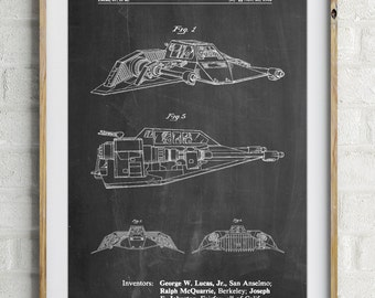 Star Wars Snowspeeder Poster, Empire Strikes Back, Star Wars Art, Starwars Vehicle, Star Wars Print, Star Wars Ships, PP1057