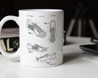 Soccer Cleats Mug, Soccer Shoes Patent, Sports Mug, Soccer Room Decor, PP0055