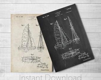 Sailboat Printables, Sailboat Decor, Sailboat Blueprint, Sailing Decor, Sailboat Print, PP0769