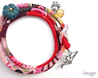 Japanese jewelry Kimono Bracelet, Necklace - HANA MORI - Japanese chirimen fabric cord, purple pink red flower