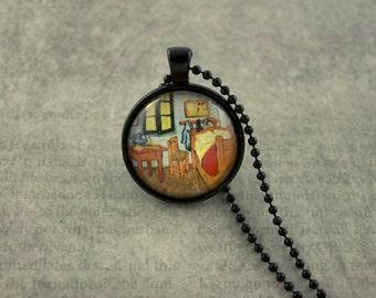 Vincent van Gogh, Bedroom, van Gogh Necklace, Art Necklace, van Gogh Pendant, van Gogh Jewelry, Bedroom in Arles, Glass Dome Necklace