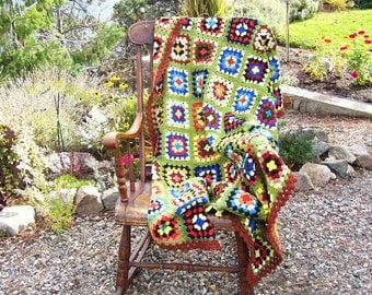 Retro Granny Squares Afghan Olive Green Hand Made Crochet 38 x 68 inches
