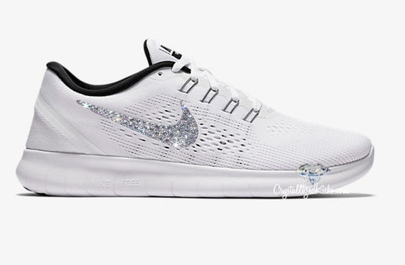 Bling NIKE Free RN  Women's White/Black Made with