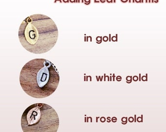 ADD an Initial, Personalized Leaf Initial Charm, Letter monogram
