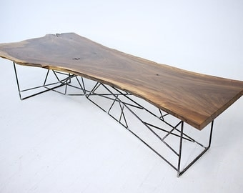 Ricochet + Yoshi: Live Edge Slab Coffee Tables, Midcentury Modern, Steel Rod Base, Reclaimed wood Slab