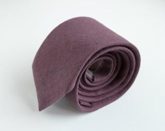 Marsala Neckties, Bowties- Mauve, Burgundy, Deep Garnet Linen Necktie- Men's Tie- Wedding Ties- Groomsmen  Neckties