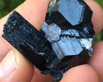 27g Black Tourmaline Schorl w/ Purple Fluorite - Erongo Mts., Namibia, Africa - Item:T160157