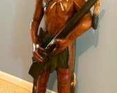 Vintage Carved Wood Black Hawk Sauk Tribe Indian Statue w Rifle Folk Art Native American
