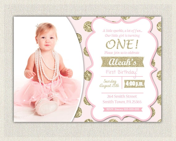 Pink And Gold Birthday Invitation Polka Dots Glitter Princess - Digital first birthday invitation