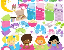 80%OFF Slumber party Clipart, Sleep over Clipart, Girls Spa Night Clipart Package, Makeover Party Clipart, commercial use, AMB-338