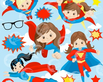 Superhero Clipart, Super Hero Clipart, Super Hero Girls Clipart, Super Girl, commercial-use, AMB-1033